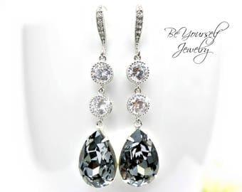 Dark Gray Bridal Earrings Charcoal Teardrop Bride Earring Swarovski Crystal Silver Night Wedding Jewelry Cubic Zirconia Grey Bridesmaid Gift