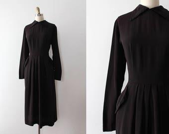 vintage 1940s dress // 40s black rayon dress