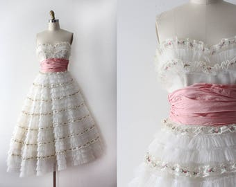 vintage 1950s prom dress // 50s strapless ruffle party dress