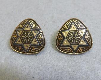 Vintage Jewish Star Damascene Black and Gold Enamelwork Clip Earrings