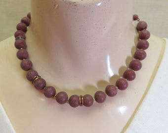 Vintage Maroon Glass Beaded Necklace, 16 Inches, Maroon Glass Choker