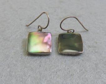 Alpaca Silver and Iridized Black Glass  Pierced Earrings