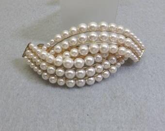 Waves of Pearls Vintage Hair Barrette, Oodles of Pearls Hair Barrette