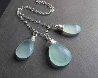 RESERVED for CAROL:  Chalcedony Necklaces, Sterling Silver, 24 inch, 28 inch and 30 inch