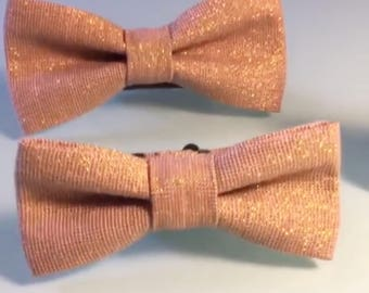 Mens Bowtie in Rose Gold Metallic Linen, Rose Sparkle Bow Tie, Mauve Bow Tie, Dusty Rose Bow Tie, Groomsmen Bow Tie, Wedding Bow Tie
