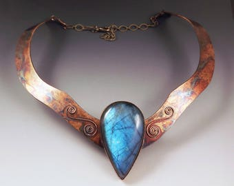 Blue Labradorite Necklace- Egyptian Queen- Boho Chic- Metal Art- One of a Kind- Collar Necklace