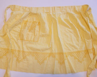 Vintage Apron Yellow White Gingham Check with Embroidery one pocke