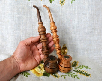 Two smoking pipes Wooden pipe carved tobacco smoking pipes Long pipe Wood pipes Tobacco pipe Wood pipe Carved smoking pipes Tobacco pipes P9