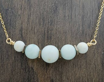 Blue Green Amazonite Stone Essential Oil Diffuser Necklace Aromatherapy Necklace