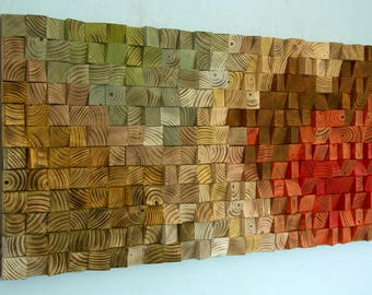"Reclaimed Wood wall Art, wood mosaic, geometric art, wood wall art - ""The touch of Earth"" - v.2"