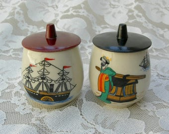 "2 Small Japanese Teacups with Lids, Madame Butterfly opera - waiting for US naval officer, Pinkerton, in his ""Black ship,"" ceramic tea cups"
