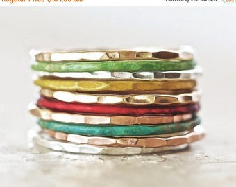 MOON DAY SALE Stacking Rings / Thin Stacking Rings / Patina Stackable Rings / Stack / Silver Stack Ring / Stacking Ring Set / Stack Rings