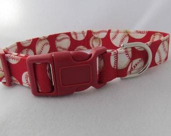 Fabric Dog Collar - Red Baseball  - MEDIUM