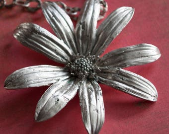 Flower Necklace, Forever Summer Statement Necklace, One of a Kind Wild Daisy Cast In Sterling Silver Pendant Necklace