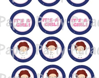 Star Wars DIY Printable Cupcake Toppers Gift Tag - It's a Girl- Baby Shower - Princess Leia Baby Shower - Print at Home