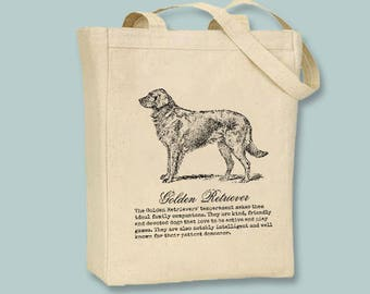 Golden Retriever Dog  with or without text Canvas Tote -- Selection of sizes, ANY IMAGE COLOR available