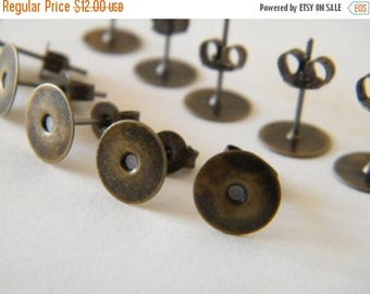ON SALE 160 x Antiqued Bronze Earring Posts with Stud Backs / Nuts Pad 8mm