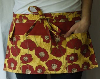 Teacher Apron Fall - Poppies - Half Apron with pockets in maroon red and yellow floral pattern - gift for grandma - vendor apron
