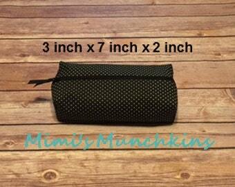 Designer Travel Zipper Bag, Black Bag with White Dots, Pencil Bag, Eyeglass Case, Toiletry Bag, Luggage, READY TO SHIP
