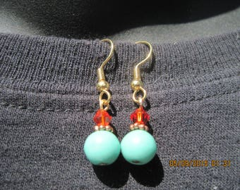 GORGEOUS Gold,Swarvoski Tangerine & Turquoise Drop Pierced Earring.....hand made OOAK...1602h....Bridal/Everday/Holiday