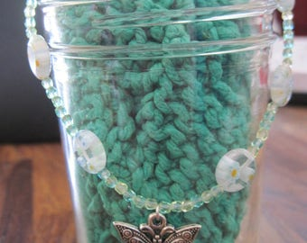 Czech Blues,Yellows,Greens & Clear Millforie Bead w/ Butterfly Dangle Bracelet/Anklet.....Hand Made... OOAK...1058hb