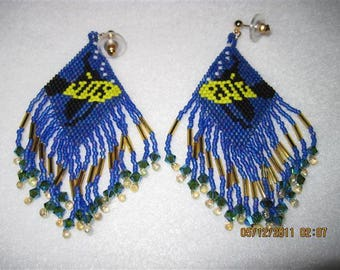 Native Syle Fish Earrings with Swarvoski's...ONE of a KIND...NEVER make the same tWiCe!