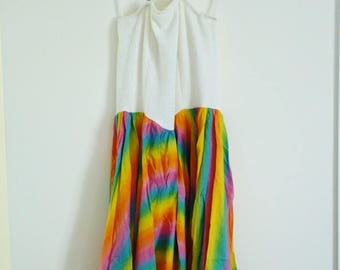Vintage Nicki Ferrari rainbow halter neck dress size 16
