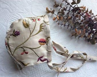 Baby Bonnet, Bonnet, Handmade Bonnet, Vintage Bonnet, Girls Bonnet, Fall Bonnet, Silk Bonnet