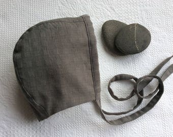 Bonnet-Baby Bonnet-Grey Bonnet-Gender Neutral Bonnet-Handmade Bonnet-Cotton Bonnet-Boy Bonnet-Girl Bonnet