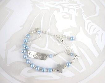 Rosary Toddler Swarovski Pearl bracelet, name stamped Charm Bracelet, Baptism Jewelry Gift, Confirmation gift