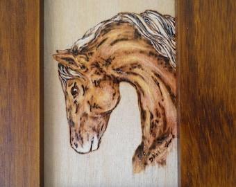 Horse wood burning , palomino, pyrography, western decor, small wood wall art,