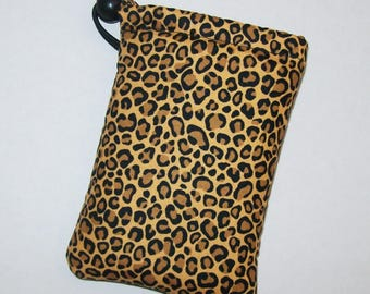 """Pipe Pouch, Cheetah Pipe Bag, Glass Pipes, Pipe Case, Padded Pipe Pouch, Glass Pipe Cozy, Animal Print Bag, Stoner Girl Gift - 5"""" DRAWSTRING"""