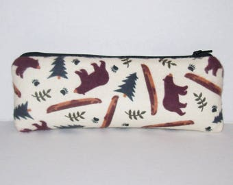 "Bear Forest Bag, Glass Pipes, Pipe Case, Padded Pipe Pouch, Pipe Bag, Stoner Gifts, 420, Wilderness, Zipper Pouch, Hiker Gifts - 7.5"" LARGE"