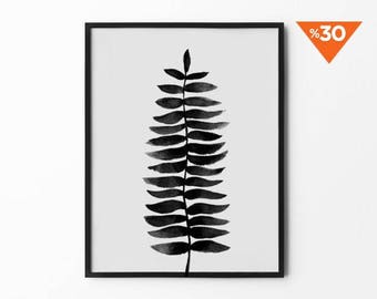 Watercolor Tropical Print, Leaf Wall Art, Watercolor, Black and White, Aquarelle Drawing, Hand Draw Flower, Nature Print