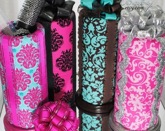 Damask Floral Headband Holders - 29+ Color Choices, up to 3 feet, Storage Inside - Girls Bedroom, Baby Nursery Organizer and Decor