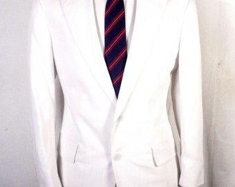euc John Weitz by Palm Beach Solid White Linen Blend Sportoat Blazer 39 S