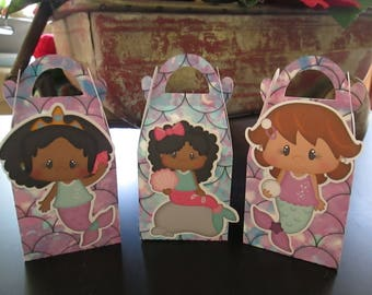 Cute African American Mermaid Gable Boxes Set of 12 with tags  with Free Shipping