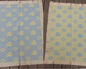 50s Teddy Bear Floral Blanket REVERSIBLE Blue Yellow Cotton Soft Fuzzy