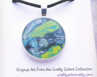 Mini Painting Pendant Original Abstract Art Wearable Art Necklace Resin Art 3375
