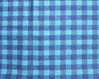 Vintage Blue Plaid Upholstery Fabric circa 1960's . Textured Woven Cotton material for furniture . Large Blue Gingham . projects baby boy