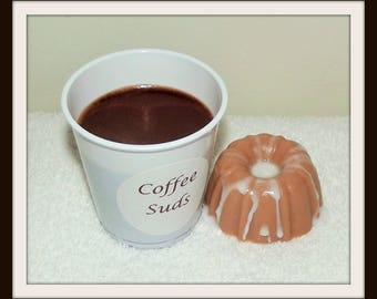 Mini Dunkin Suds Coffee and Danish Soap Favor, Coffee Scented Soap, Custom Soap Favor, Cinnamun Bun Soap Favor