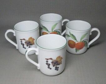 Royal Worcester Evesham Vale set of four mugs