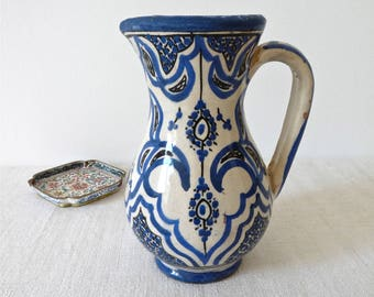 Moroccan vintage Pitcher -  French Pottery - Moroccan Pottery - mediterranean Blue pottery- Moroccan Patio -