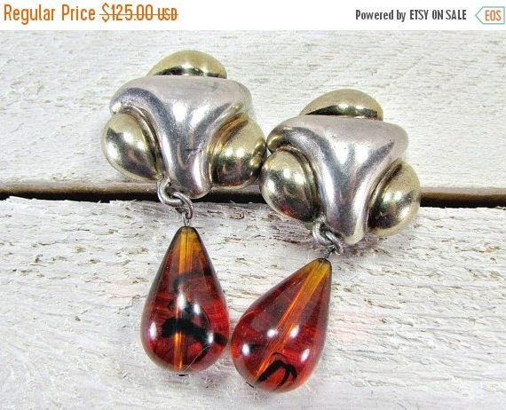 SALE Vintage Sterling Silver Earrings, Designer FREDERIC Jean DUCLOS, Amber Teardrop Earrings, Runway Statement Earrings, 80s Fine Estate Je