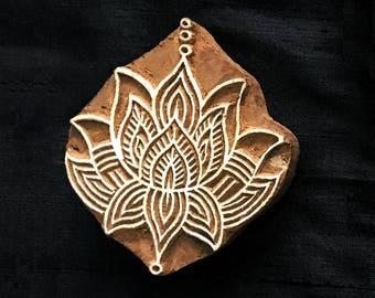 Lotus Flower/ sacred/ nirvana/ Indian block printing stamp/ tjap/ wooden block for printing/ paper fabric printing stamp