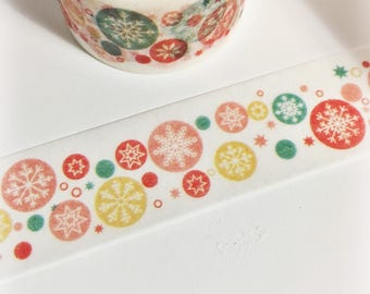 Bright Colorful Teal Coral Red Mustard Snowflake Winter Stars Circle Snowflakes Washi Tape 5.5 yards 5 meters 20mm