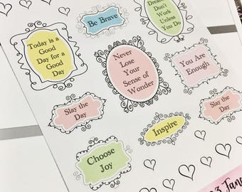 0023 Fancy Pastel Quote Boxes Half Boxes Full Boxes Sheet of Stickers Planner Stickers Erin Condren Life Planner Happy Planner