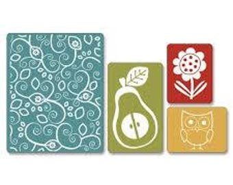 Sizzix Textured Impressions Embossing Folders 2PK - FLOWER OWL & PEAR Set