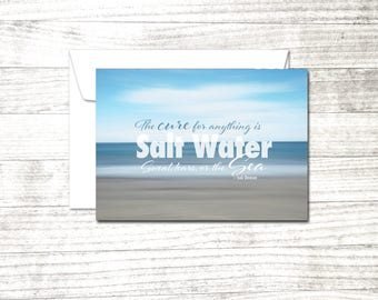 Beach Quote Note Card | Isak Dinesen Quote| Sea Quote Greeting Card | Blank Greeting Card | Card for ocean lover