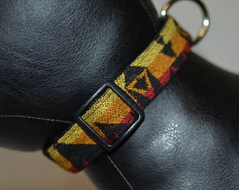 Special Fancy Tribal Medium Dog Collar handmade of colorful Native American Pendleton Wool fabric adjustable dog collar lover gift